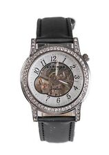 Akribos XXIV Women's Black Silver Mechanical Diamond Watch 20 mm 5513