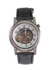 Akribos XXIV Women's Black Silver Mechanical Diamond Watch 20 mm 0710