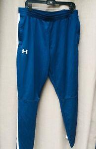 UNDER ARMOUR Warm-Up Jogger Pants Size XL Blue w/ Zip Pockets & Zip Ankle Breath
