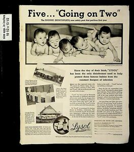 1935 Five Going on Two Lysol Dionne Quintuplets VTG Print Ad 19065