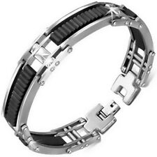 Stainless Steel Silver-Tone Black Rubber Mens Link Bracelet with Clasp