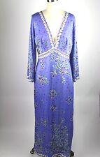Emilio Pucci Vintage Purple Silk maxi dress floral for FORMTIF ROGERS sz M