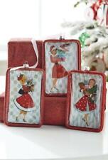 "NEW 2020 Raz 6"" Holiday Shopper Rectangle Glass Retro Christmas Ornament 4019124"