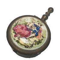 Vintage Portable Brass Lidded Ashtray Hinged Lid Porcelain Cover Japan