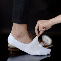 5 10 Pairs Mens Invisible Loafer Boat No Show Nonslip Liner Low Cut Cotton Socks