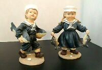 Vintage Victorian Sailor Boy & Girl With Fish Figurines 8""