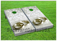 VINYL WRAPS Wedding Rings Gift Cornhole Board DECALS Bag Toss Game Stickers 13