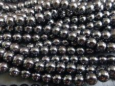 """1 X 16 """"Trefolo di 8mm non magnetico nero ematite perline Round (circa.53 Perline)"""