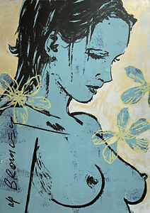 "New DAVID BROMLEY hand-signed Screenprint ""Romy with Flowers"""