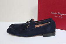 New sz 8 D SALVATORE FERRAGAMO Nilo Gancini Bit Blue Suede Loafer Men Shoes