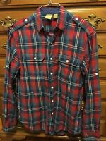 Urban Outfitters All-Son Brand Flannel Shirt Size Small S Red Blue & White Plaid