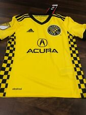 New Adidas Youth Columbus Crew Soccer Replica Jersey Size Small Yellow Black