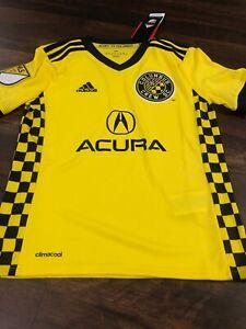 New Adidas Youth Columbus Crew Soccer Replica Jersey Size Kids XL Yellow Black