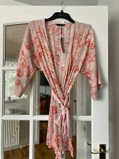 GORGEOUS BNWT M&S ROSIE AUTOGRAPH PINK FLORAL SANDWASHED SATIN ROBE 8