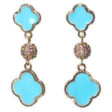 Sky Blue Enamel Filled Flower Design with Shamballa Ball Dangle Fashion Earrings