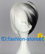 NEW Men boy Fashion short black white mix straight Cosplay wig +wigs cap