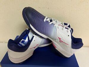 Mizuno Women's Wave Exceed Tour 3 Tennis Shoe in White/Purple