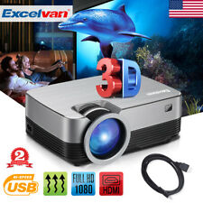 1080P LED Projector Multimedia Video Player 3600 Lumens Touch HDMI TV BOX DVD US