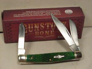 "Rough Rider Gunstock Green Bone Stockman 3 1/4"" Pocket Knife  RR587"