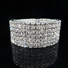 6 Row crystal Rhinestone Elastic Stretchy  Bracelets  wedding jewellery Prom