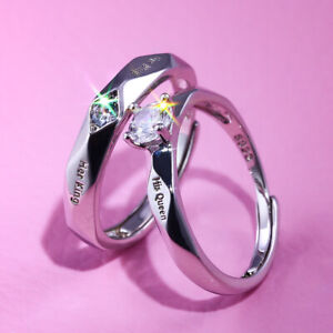 """""""King&Queen"""" Valentines Day Gifts Lover for Him Her 925 Silver Rings Love Couple"""