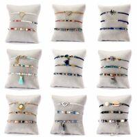 3Pcs/set Boho Women Shell Pearl Beads Natural Stone Tassel Crystal Bracelet Gift