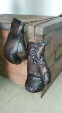 Vintage Dark Brown Leather | Retro Boxing Punch Gloves - 12oz - Display only