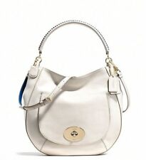Coach 35409 Chalk & Denim Smooth Leather Whiplash Circle Hobo Shoulder Bag NEW