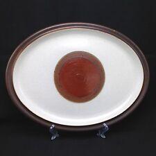 """Vtg Denby Potter's Wheel Brown Rust Red Dot 13"""" Oval Serving Platter Plate Mod"""