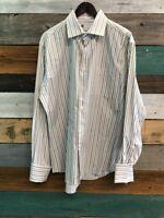 Bachrach Shirt Men's Sz XL Large White Striped Button Up Long Sleeve Collar
