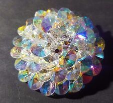 * STUNNING ANTIQUE SHERMAN VINTAGE MIRRORED CRYSTAL DOME BROOCH / PIN - SIGNED *