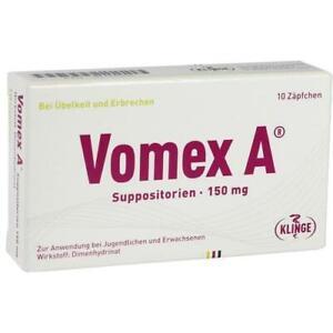 VOMEX A 150 mg Suppositorien 10 Zäpfchen MHD 03/22 PZN 01116555
