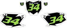 2003-2012 Kawasaki KX125 Pre-Printed Black Backgrounds White Shock Green Number