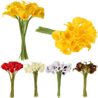 10/20Heads Silk Calla Lily Artificial Flowers Wedding Bouquet Home Party Decor