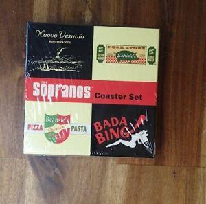 HBO 2001 The Sopranos Coaster Set Bada Bing Beansies Pizza Sealed Coasters NOS