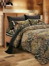 7 PC NATURAL / BLACK CAMO FULL SIZE MIX COLOR SET COMFORTER SHEETS & PILLOWCASES