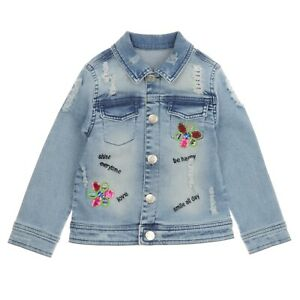 Navy Girls Jacket with Flowers for 2 3 4 5 6 7 Years Old