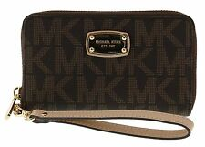 NWT MICHAEL KORS BROWN MK SIGNATURE LARGE MULTI FUNCTION PHONE CASE WRISTLET