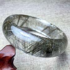 Natural Silver Rutilated Quartz Crystal Woman Bangle AAAA Inner Diameter 56mm