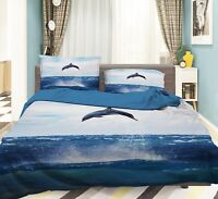 3D Dolphins Natural 9 Bed Pillowcases Quilt Duvet Cover Set Single Queen King CA