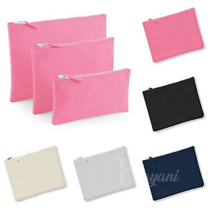 Plain MAKEUP BAG Westford Mill Canvas Accessory Case Phone Toiletry Zip Up Pouch