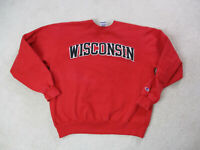 VINTAGE Champion Wisconsin Badgers Sweater Adult Extra Large Red Black Football