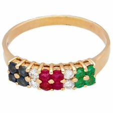 18Carat Yellow Gold Emerald, Diamond, Ruby & Sapphire Cluster Ring (Size W)