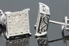 .32 CARAT WHITE GOLD FINISH MENS WOMENS 9mm 100% REAL DIAMONDS EARRINGS STUDS