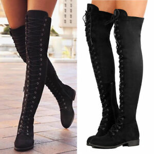 Womens Black Lace Up Side Zip Over The Knee Boot Thigh High Combat Low Heel Shoe