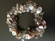 Grey Colour Crystal Glass shell clustererd Stretch barcelet