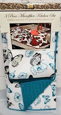 3 pc Kitchen Microfiber Set: Drying Mat and 2 Towels Set (16x19) BUTTERFLIES, BH