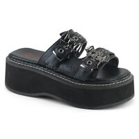 "DEMONIA EMI100/BVL 2"" Platform Women's Goth Punk Bat Buckles Flip Flops Sandals"