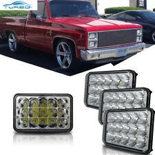 For 1981-1987 Chevy Pickup Dual Rectangular LED Headlight High Low Beam 4pcs Set