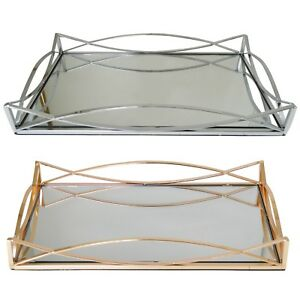 Rectangular Metal Serving/Dressing Table Tray With Mirror Base